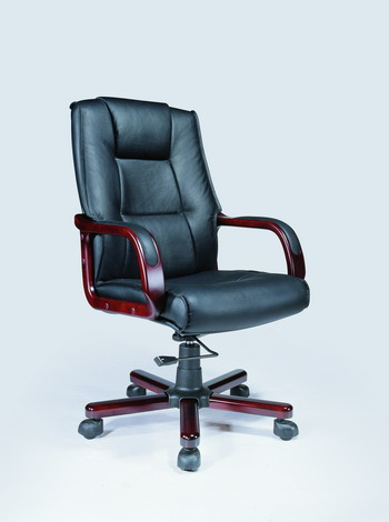 Cherry Frame Leather Swivel Chair