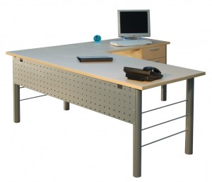 Metal Leg L-Shape Desk