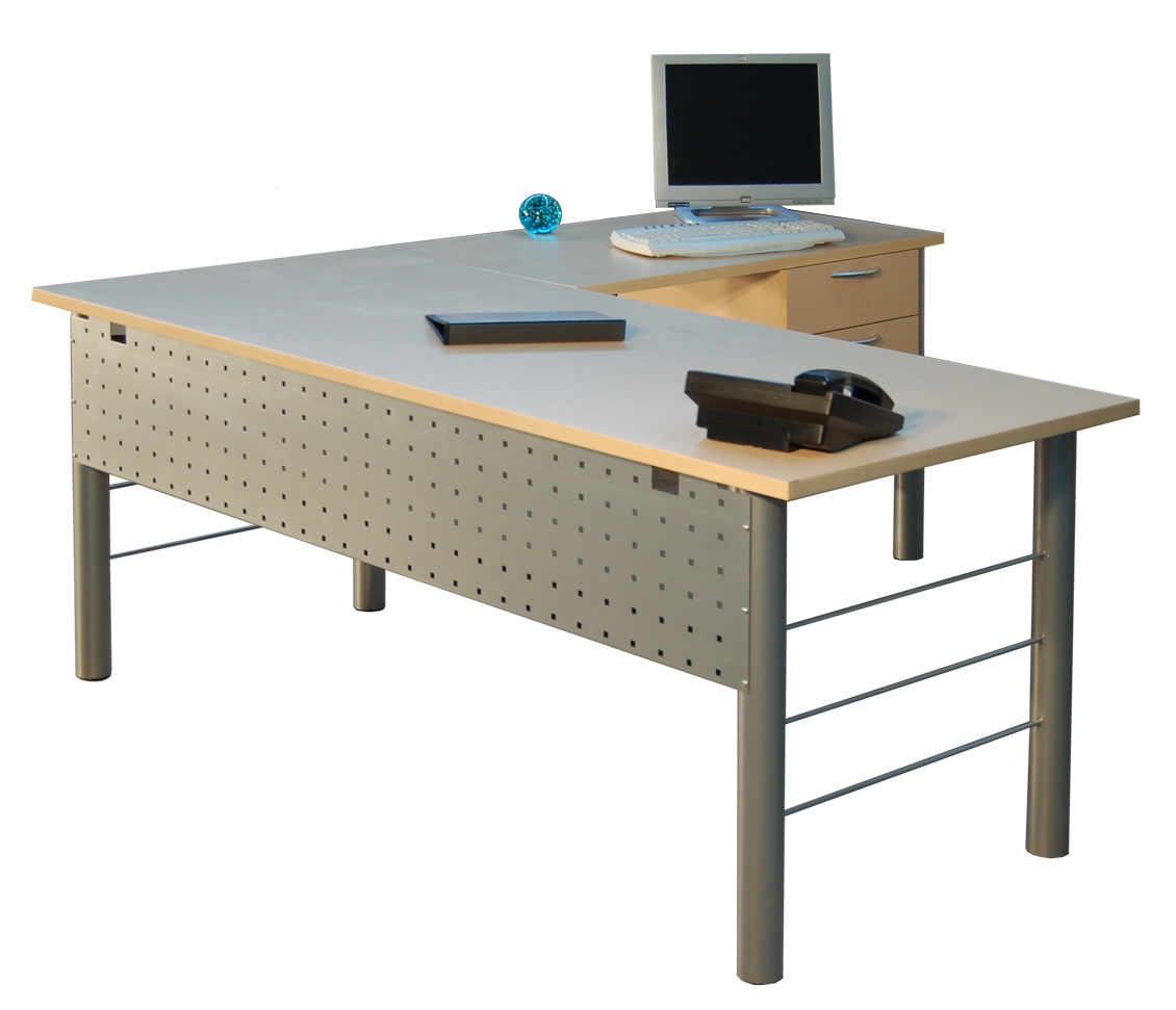 Marvelous Metal Leg L Shape Desk
