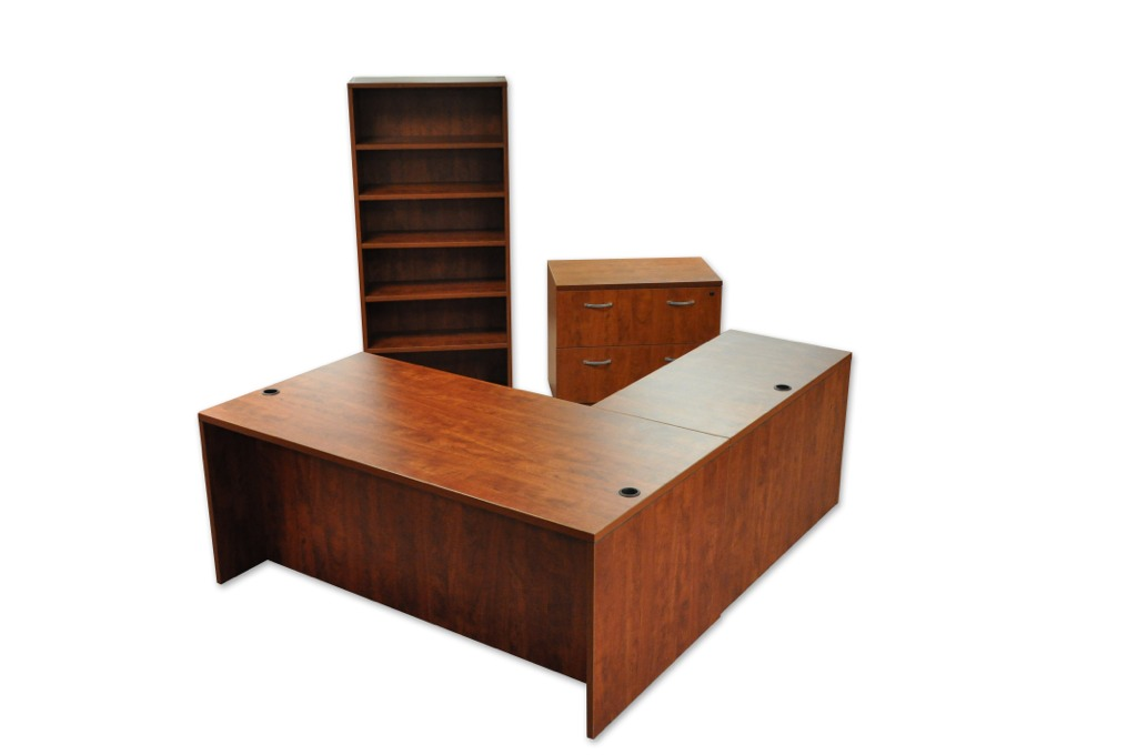L-Shaped Desk, Bookcase, and 2 Drawer Lateral File